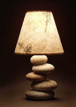 Stone lamp.. want.Ideas, Home Interiors, Rivers Rocks, Rustic Art, Home Design, Meditation Room, Rocks Lamps, Design Home, Modern House