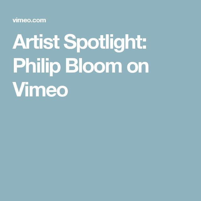 Artist Spotlight: Philip Bloom on Vimeo