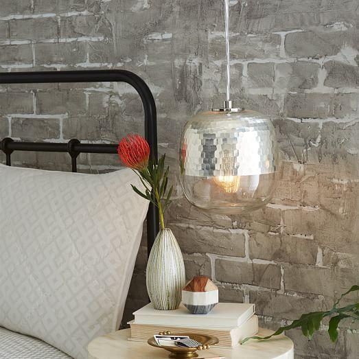 Metallic Honeycomb Glass Pendant - Round | west elm - needs plug, so won't work, but LOVE the look!
