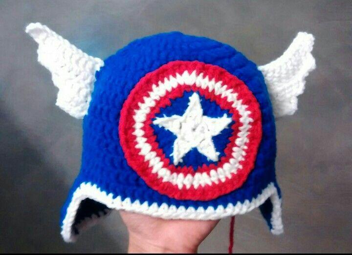 Gorro crochet capitan america
