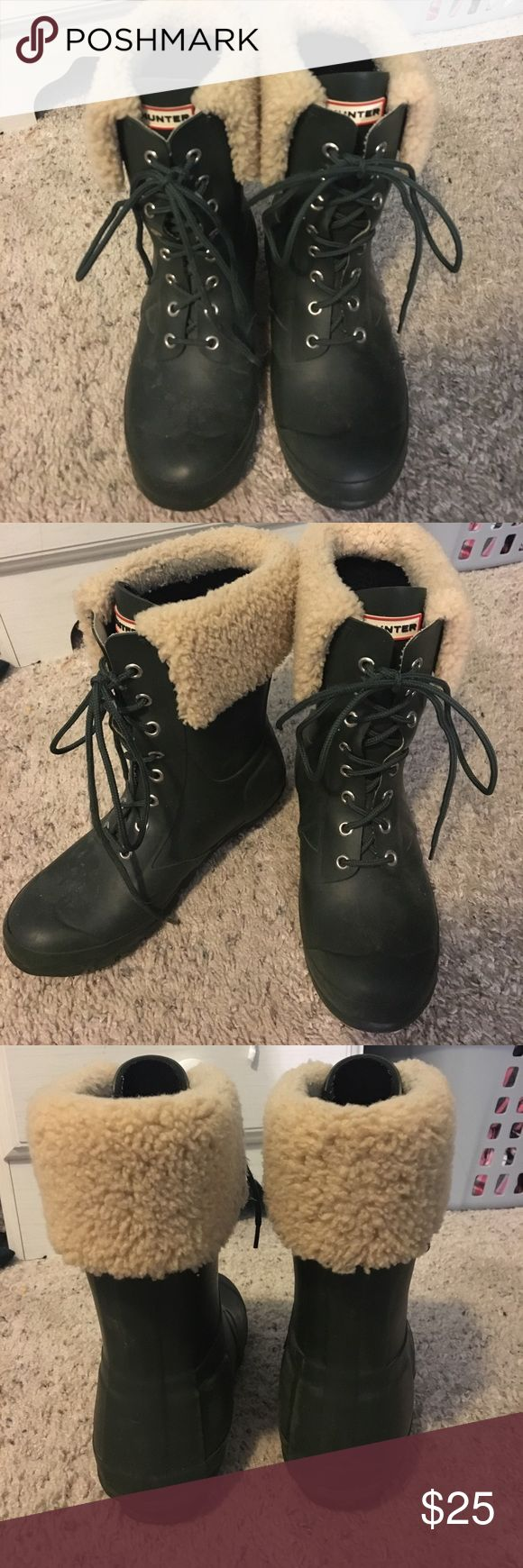 Hunter Boots Gently used green. Hunter boots. Mid height with fur at the top. Bought these from someone but they are just too big because they run bigger. Very good condition Hunter Boots Shoes Winter & Rain Boots