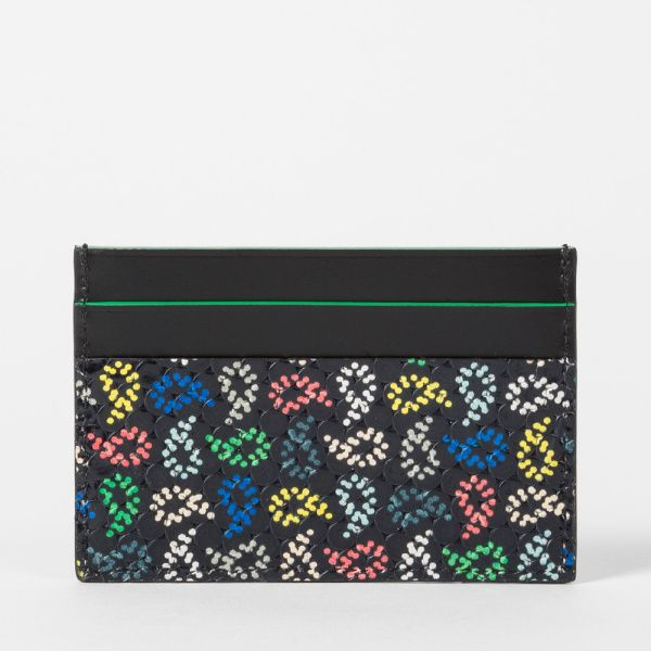 Paul Smith Men's Black Leather Multi-Coloured Paisley Print Credit Card Holder