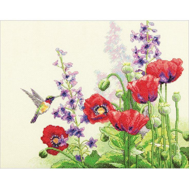 Hummingbird & Poppies Counted Cross Stitch Kit