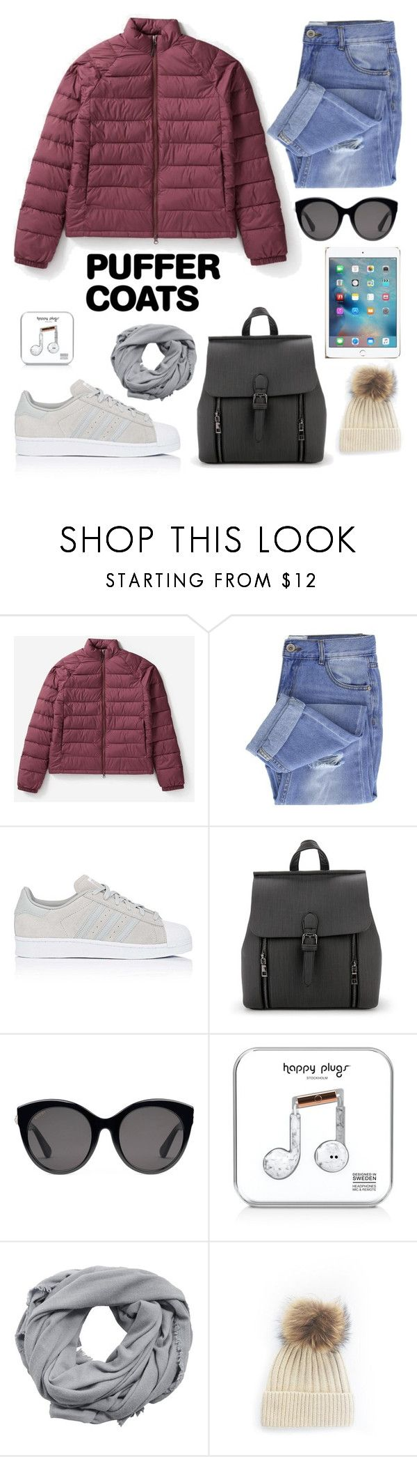 """Puffer coats"" by moni-ballerina ❤ liked on Polyvore featuring Everlane, Taya, adidas, Gucci, Happy Plugs and MANGO"