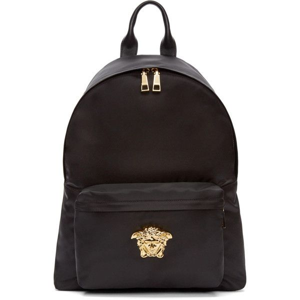 Versace Black and Gold Nylon Medusa Backpack ($1,310) ❤ liked on Polyvore featuring men's fashion, men's bags, men's backpacks, black and versace