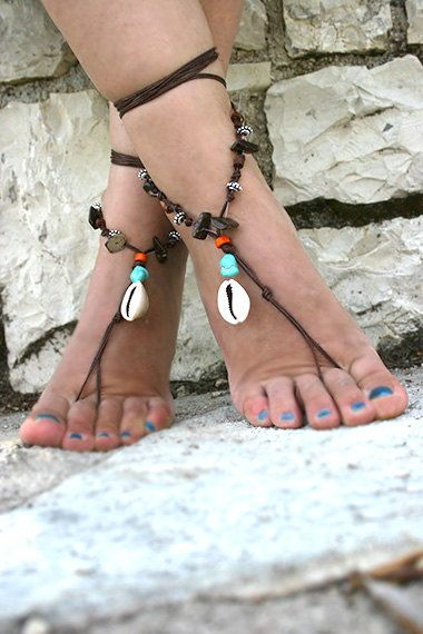 Beaded Barefoot sandals Boho hippie barefoot sandles toe by MarryG, $19.00