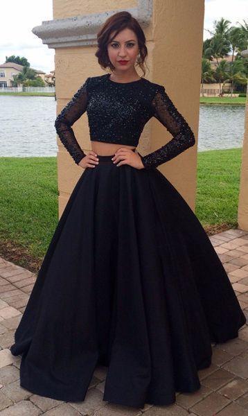 Long Prom Dress,Beading Long Tulle Sleeves Satin Two Piece Prom Dresses,sexy prom dress,prom dress