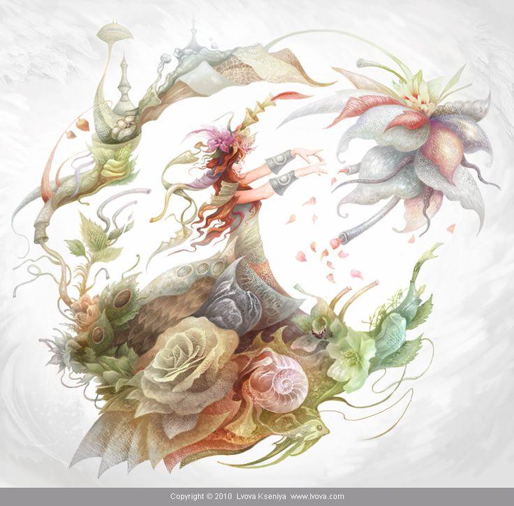 Genesis by KseniyaLvova on DeviantArt #artwork #illustration #fantasy #woman #nature #digital #fairy #female #green #magic #magical #beauty