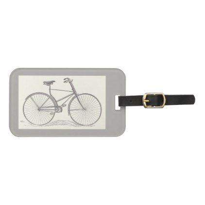 Vintage Old Fashioned Bicycle Depiction Bag Tag - traditional gift idea diy unique