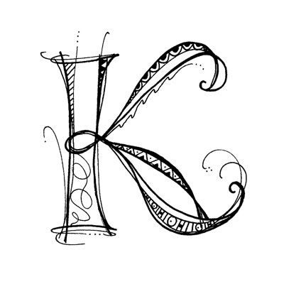 "My friend Erica's delightful Zenspirations monogram ""K""... one of the earliest examples from paperwhitestudio: November 2009"