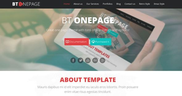 BT One page is a fully responsive, single-page Joomla Templatewith 3 polished interfaces: Corporate, Retro and Christmas styles.