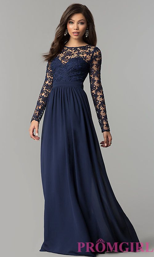 de010f19dedb Image of navy blue lace long-sleeve corset-back prom dress. Style: LP-25065  Front Image