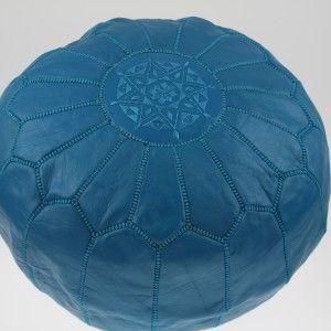 Pouf Marocain en cuir Turquoise