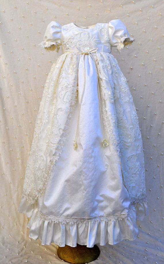 Victorian Inspire Silk Christening Gown/ Photograhy/Silk Gown/Baptismal Gown