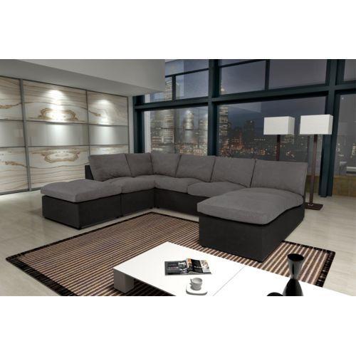 Modern Sofa - Canapé Avanti gris/noir 8 places modulable Microfibre - Canapé d'angle Achat / Vente Canapés Tissu pas chers - RueDuCommerce