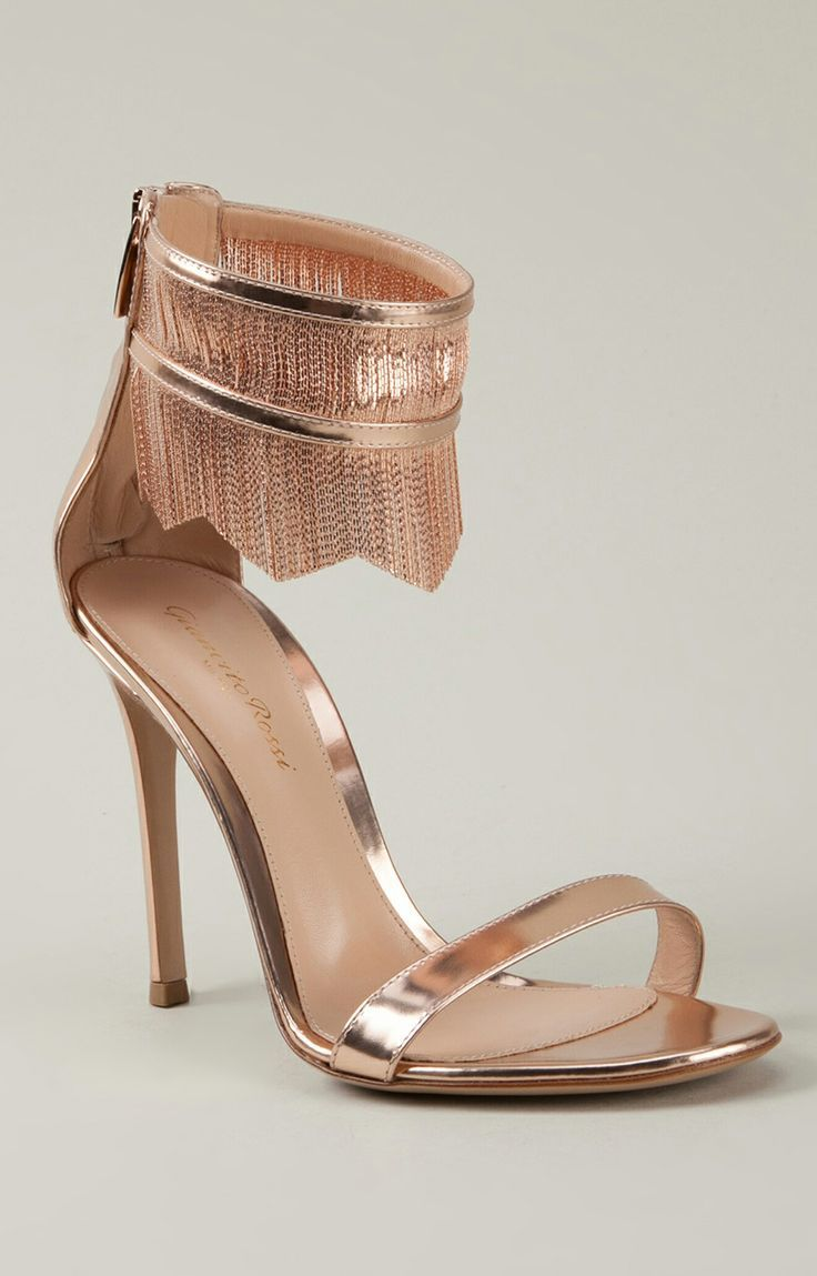 """NEW Rose gold fringe heels / Gianvito Rossi <a class=""""pintag searchlink"""" data-query=..."""