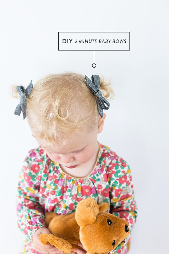 No-sew baby bows you can make in 2 minutes. Perfect for infant or toddler hair! Includes DIY tutorial.