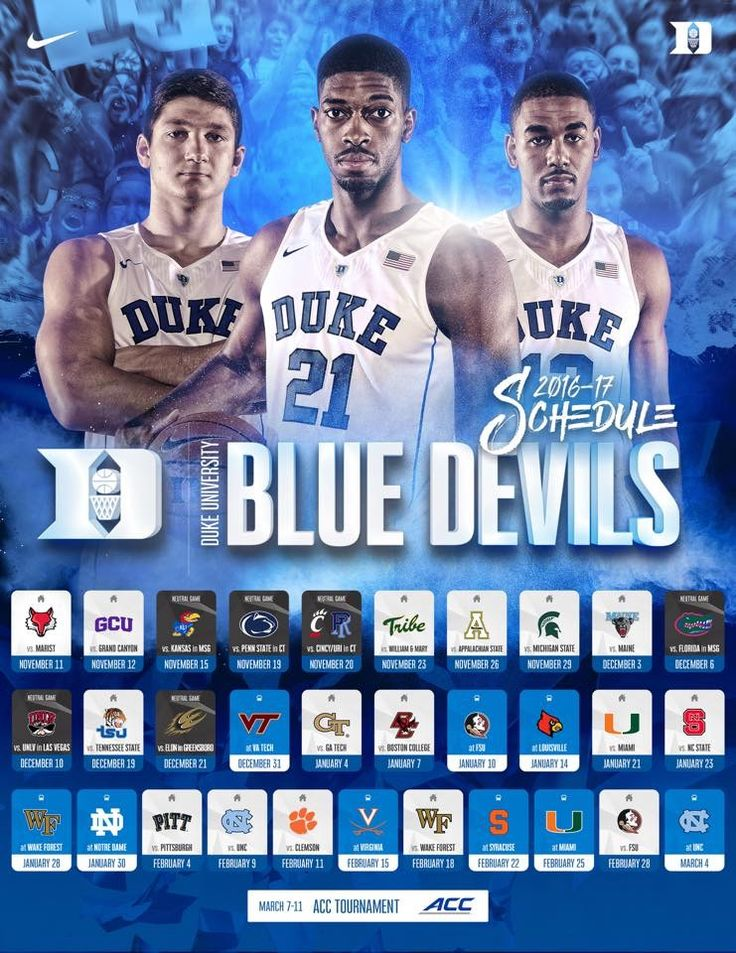 The Duke Blue Devils 2016 / 2017 Basketball schedule has just been released