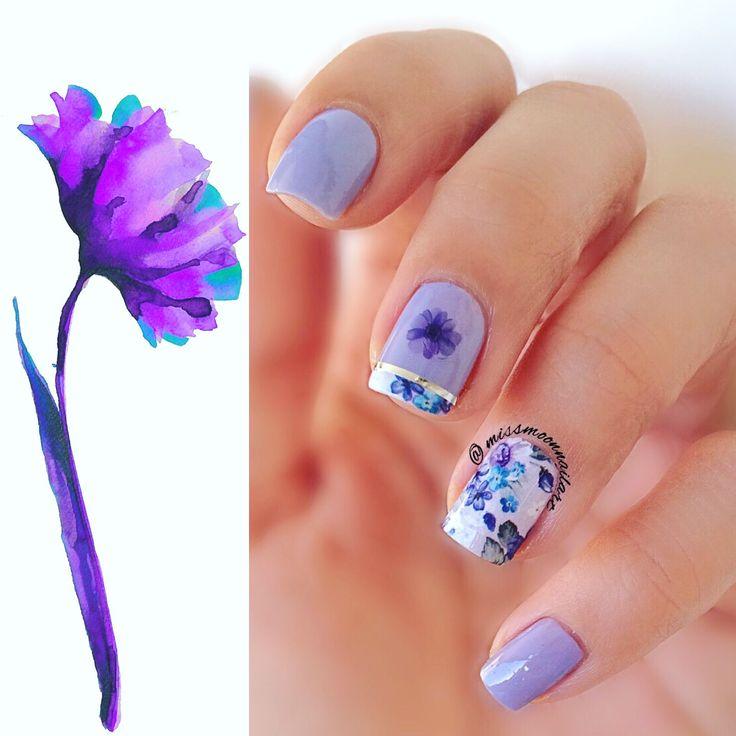Birthday nails #nailart #nailartdesign #birthdaynails #26thbirthday #tomorrow #17thjanuary #2017 #bdaygirl #readyforcelebration #waterdecals #purplenails #floralnails #opi #youaresuchabudapest #nails2inspire #adornnails #allaboutnailsofficial