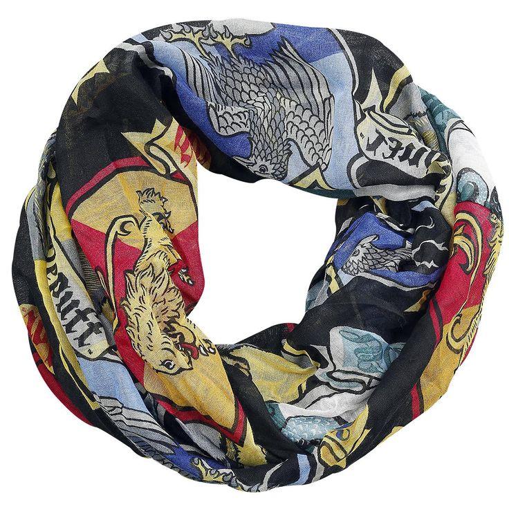 """Harry Potter - Crest  - dunne sjaal - afmetingen: ca. 205 x 20 cm - versierd met de huiswapens van de vier huizen uit de verhalen van Harry Potter  Voor de liefhebbers van de avonturen van Dumbledore, Ron, Hermione en natuurlijk Harry Potter, hebben we een hele leuke sjaal op voorraad! De dunne, kleurige """"Crest"""" sjaal is versierd met de huiswapens van de vier huizen uit de verhalen van Harry Potter."""