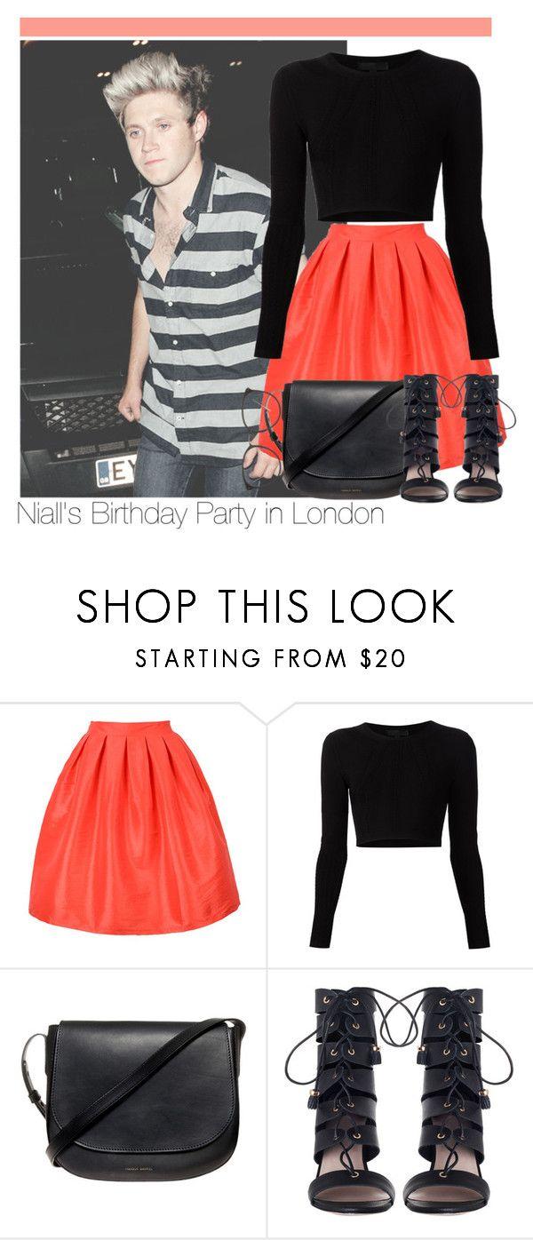"""·Niall's Birthday Party in London·"" by zaynismybaex ❤ liked on Polyvore featuring Cushnie Et Ochs, Mansur Gavriel, Zimmermann and Linda Farrow"