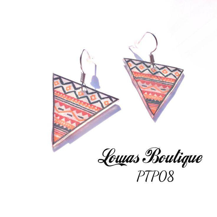 Boucles d'Oreille Plastique Fou Triangle Inca Orange