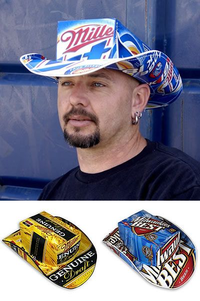 recycled beer box hat