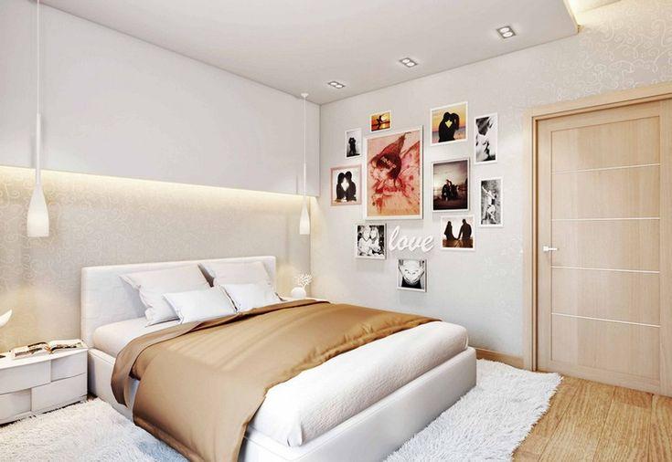 chambre taupe élégante et moderne avec une niche murale lumineuse et une déco en photos