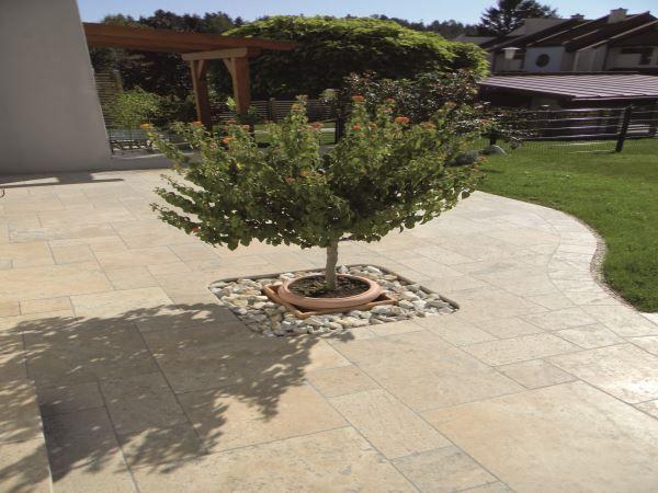 Naturstein Platte Travertin Beige Fur Aussen Garten Natursteine Bodenplatten