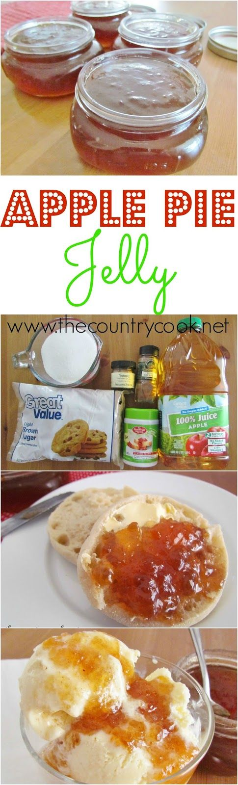 Apple Pie Jelly recipe from The Country Cook. Good on biscuits, toast, even on ice cream.