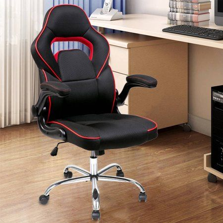 Merax Executive Mesh Office Chair Ergonomic Racing Gaming Chair Swivel Computer Desk Chair with Flip-up Armrests, Red