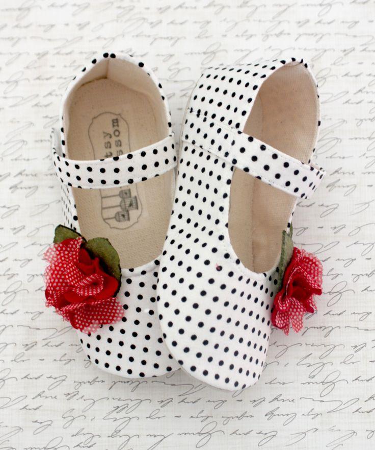 Baby Shoes Soft Soled Shoes Valentines Day White Black Red Polka Dots-Mina-Sizes 1-4. $32.00, via Etsy.