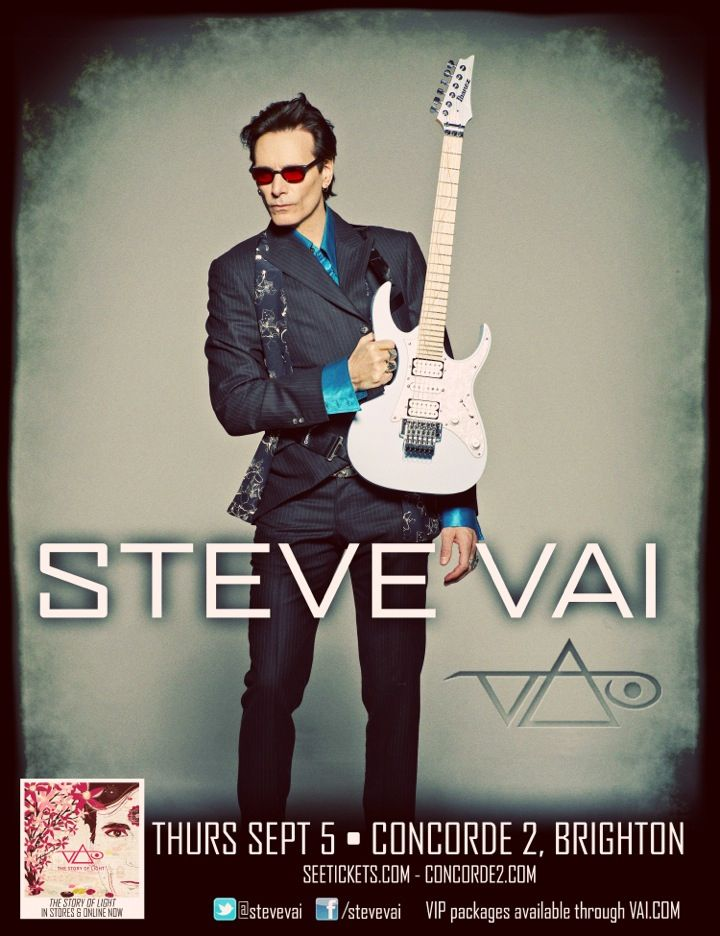 virtuoso guitarist, visionary composer, and consummate producer, Steve Vai will be playing an intimate show LIVE at Concorde2 on Thursday 5th September! Tickets are close to selling out, head to the Concorde2 website and buy now before its too late! CLICK THE IMAGE FOR TICKETS.