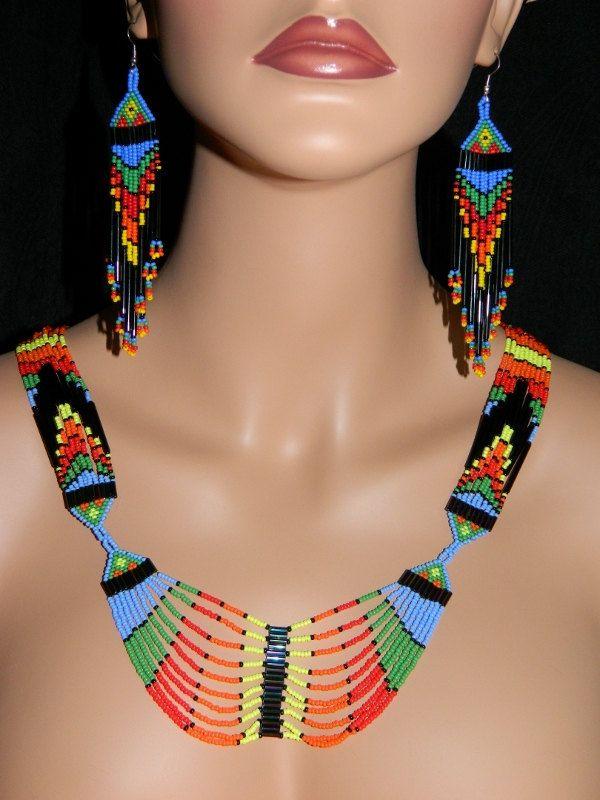"Native American Beautiful ""Desert in Bloom Dream"" Neckalce and Earring Set. $150.00, via Etsy."