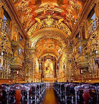 Barroco no Brasil – Igreja da Ordem Terceira de São Francisco da Penitência, Rio, grande exemplo da talha joanina, obra dos portugueses Manuel de Brito e Francisco Xavier de Brito