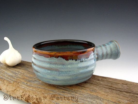 Pottery Soup Bowl with Side Handle French by DirtKickerPottery