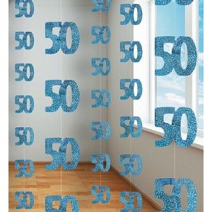 50th Birthday Blue Hanging string Decoration