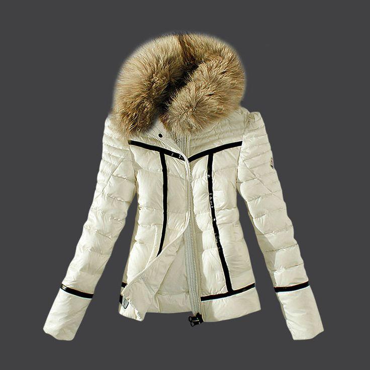 2013 belle donne Moncler Piumini Zip di pelliccia nero / bianco  €239.00: