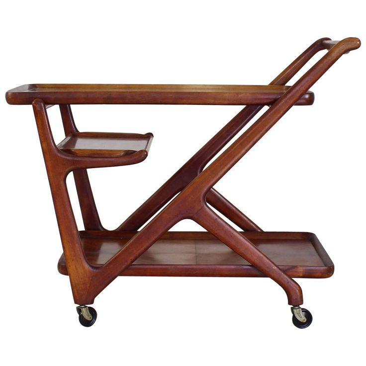 Cesare Lacca Tea Cart Trolley for Cassina, Italy | See more antique and modern Serving Tables at https://www.1stdibs.com/furniture/tables/serving-tables $1750