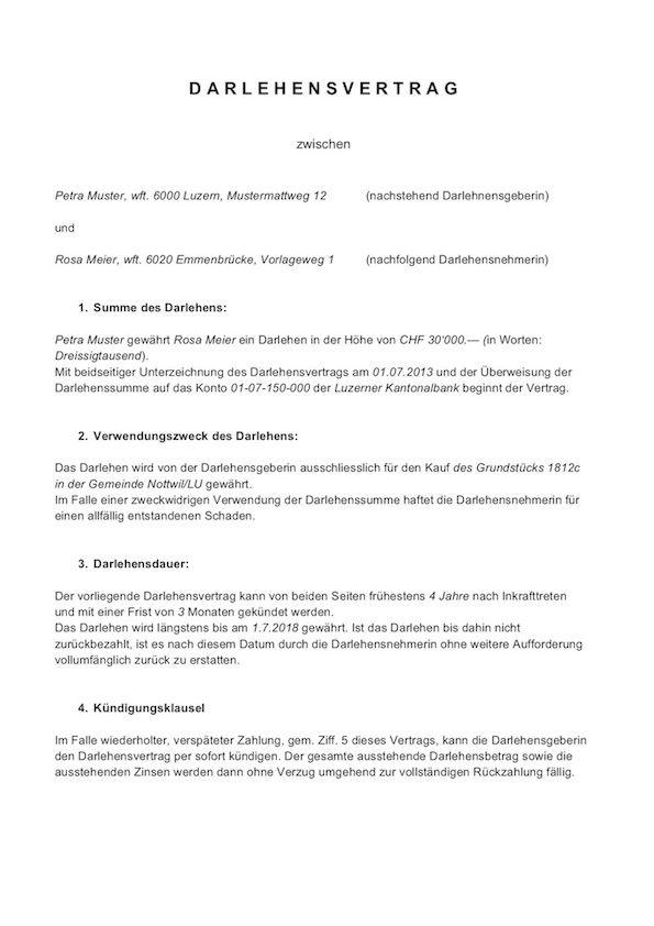 Darlehensvertrag Vorlage Schweiz Privatdarlehen 14