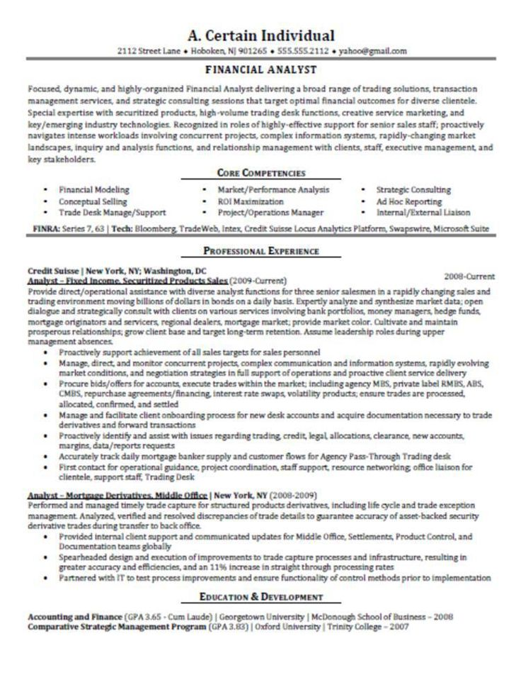 11 best Best Financial Analyst Resume Templates  Samples images on - analyst resume examples