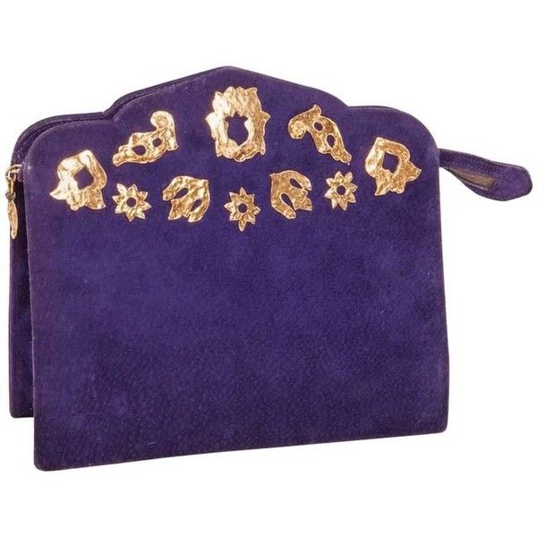 Preowned Vintage Yves Saint Laurent Clutch Bag In Purple Velvet... ($241) ❤ liked on Polyvore featuring bags, handbags, clutches, purple, velvet purse, preowned handbags, vintage purses, blue clutches and purple clutches