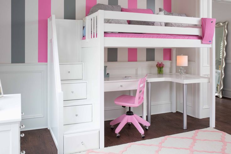 White Loft Bed with Stairs, curve desk, student desk, chair, built-in drawers in stairs, and a lot of fun!