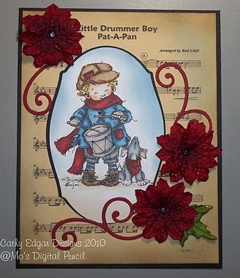 I don't normally like digital stamps, but I want this one by Mo's digital pencil of the little drummer boy. Too cute!