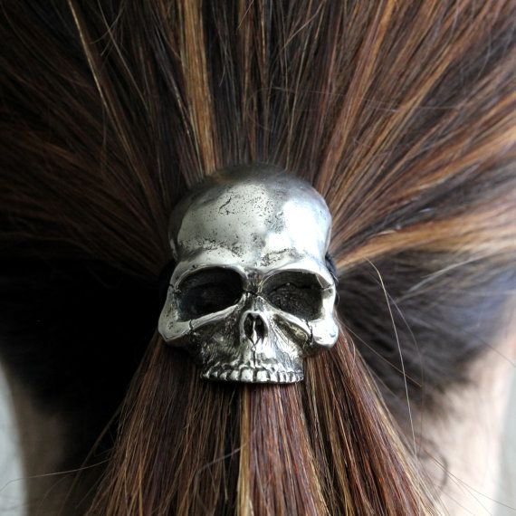 Sterling Silver Plated Skull Pony Tail Holder / Necklace in White Bronze  Hair Tie 052