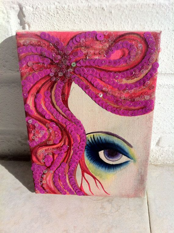Mixed media painting on canvas with sequins by for Mixed media canvas art ideas