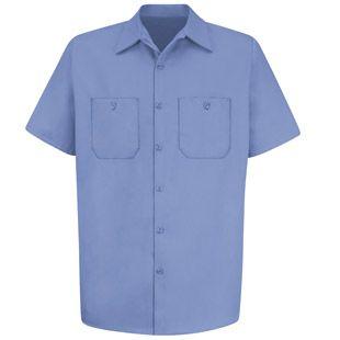 Men's Wrinkle Resistant 100% Cotton Short Sleeve Work Shirt - SC40