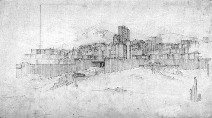 San Marcos in the Desert architectural elevation, Frank Lloyd Wright.  To be built in South Mountain foothills.  #FrankLloydWright #Chandler