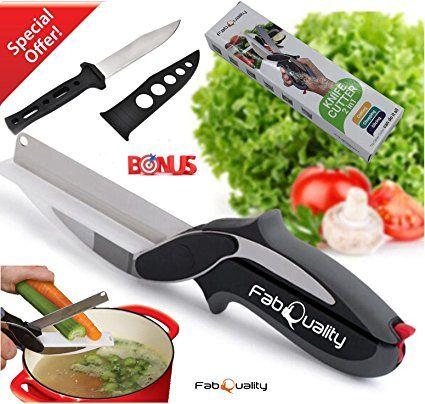 fabquality Clever Cutter couteau cutter Trancheuse à 2en 1outil de cuisine Dicer Mandoline légumes de couteau de rechange