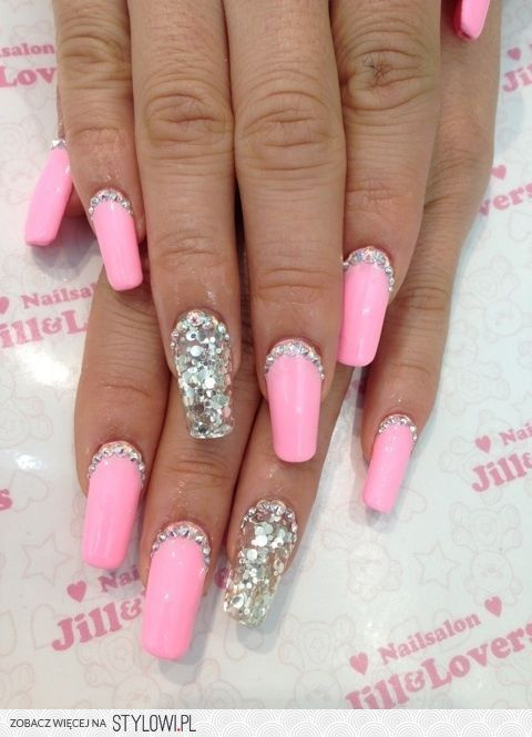12 Best Pink Bling Nails Images On Pinterest Nail Scissors Glittery Nails And Bling Nails